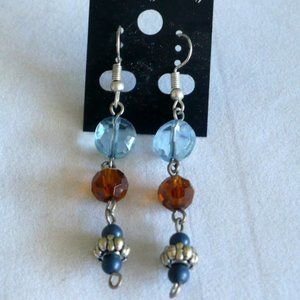 ❤️ Blue & Amber Vintage Beads Dangle Earrings